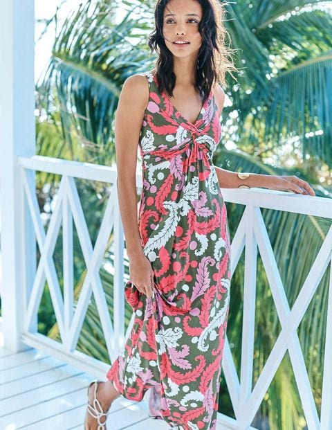 Twist Front Jersey Maxi Dress - Multi Acanthus Leaf