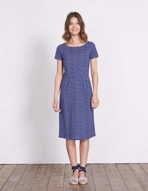 Phoebe Jersey Dress Greek Blue Postcard Women Boden