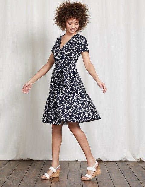 Lara Wrap Dress Navy Shadow Floral Women Boden