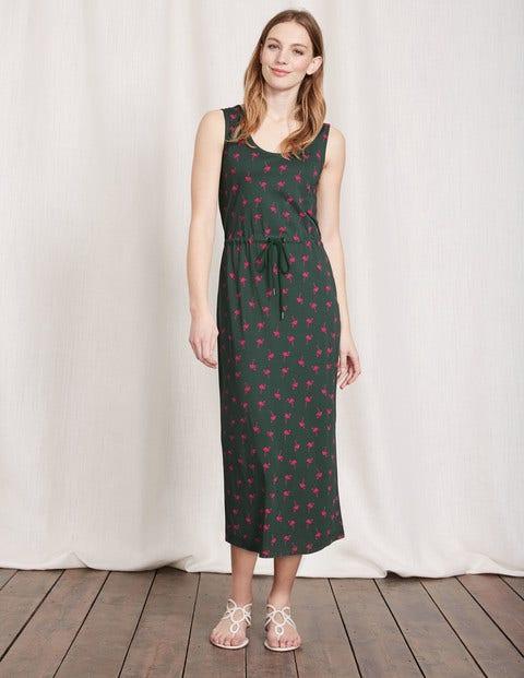 Greta Jersey Dress Pine Tree Flamingos Women Boden