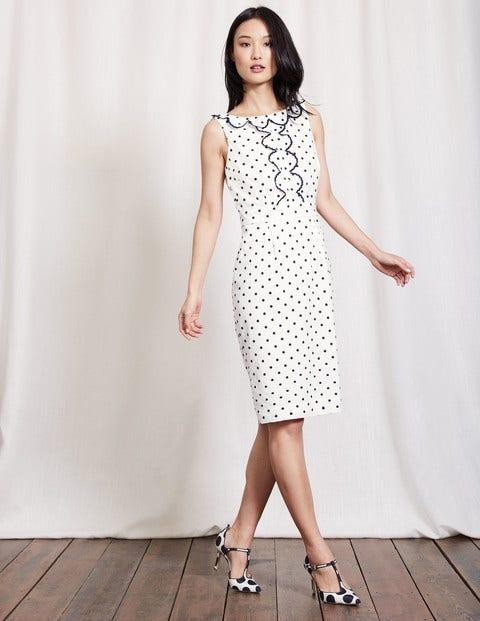 1960s Style Dresses- Retro Inspired Fashion Penelope Dress Ivory  Navy Spot Women Boden Ivory  Navy Spot £110.00 AT vintagedancer.com
