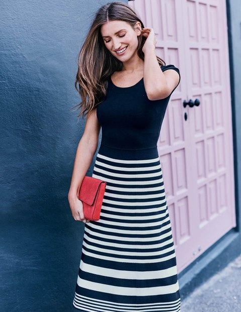 Harriet Knitted Dress - Navy/Ivory Stripe