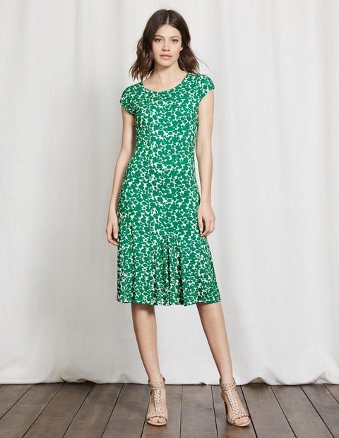 Avril Jersey Dress Greenhouse Shadow Floral Women Boden