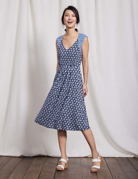 Gwendolyn Jersey Dress Navy Graphic Floral Women Boden
