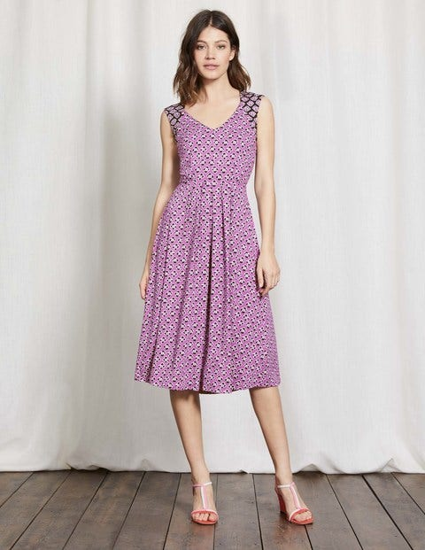 Gwendolyn Jersey Dress Wisteria Bloom Graphic Floral Women Boden