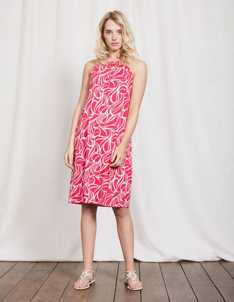 Frances Jersey Dress Coral Reef Swirl Women Boden
