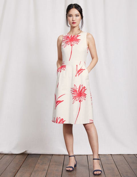 Evelyn Dress Ivory Stencil Floral Women Boden