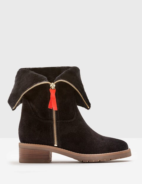 Vintage Style Boots, Retro Boots, Granny Boots, Fur Top Boots Fold-Over Sherpa Boots Black Women Boden Black £160.00 AT vintagedancer.com