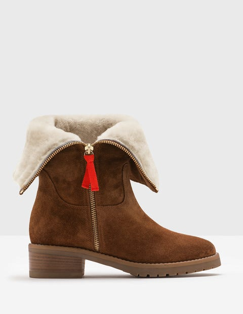 Vintage Style Boots, Retro Boots, Granny Boots, Fur Top Boots Fold-Over Sherpa Boots Tan Women Boden Brown £160.00 AT vintagedancer.com