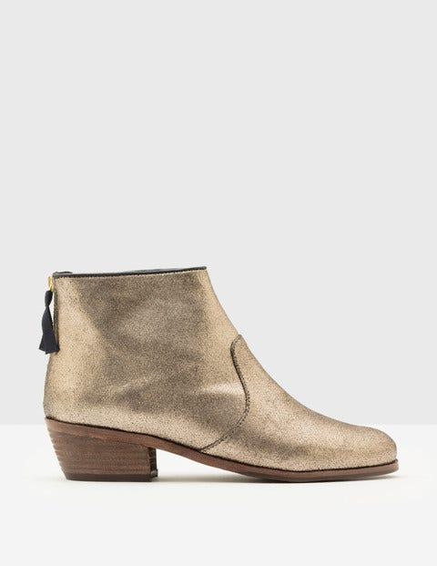Atherstone Ankle Boots Antique Gold Crackle Metallic Women Boden