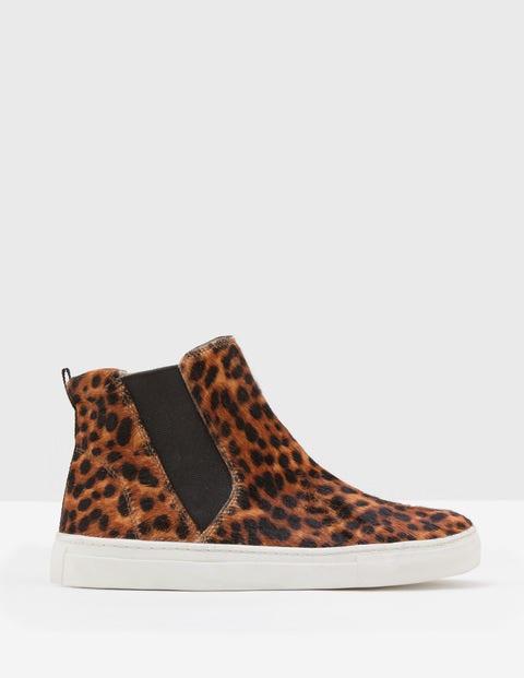 Josie High Top Sneakers - Tan Leopard