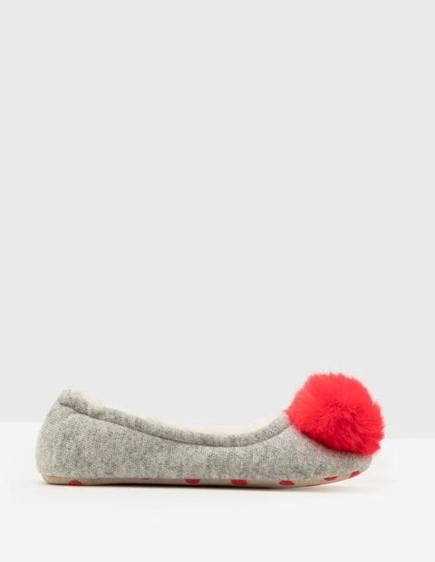 Knitted Pompom Slippers - Grey Melange