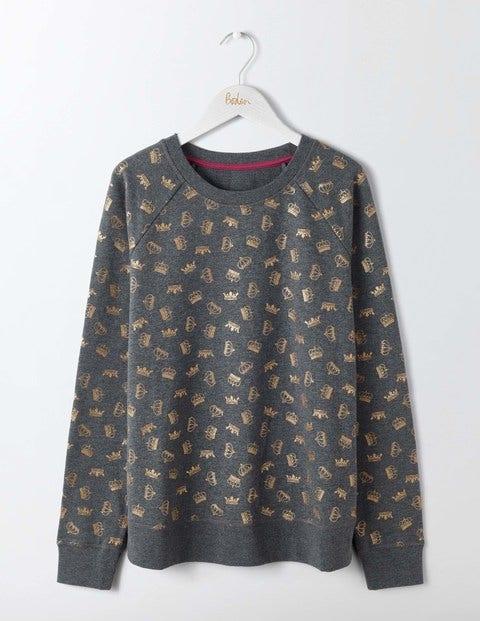 Make A Statement Sweatshirt - Charcoal Glitter Crowns