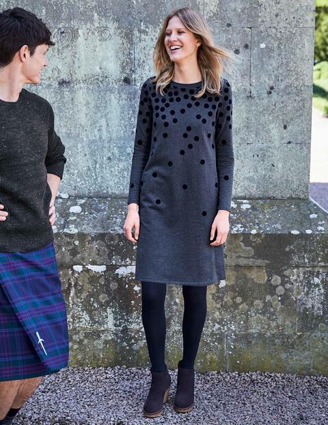 Sweatshirtkleid Mit Beflockten Tupfen - Anthrazit, Tupfen