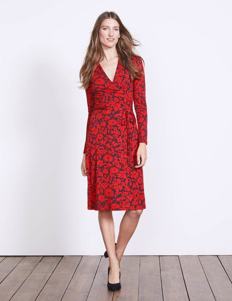Wrap Jersey Dress Post Box Red Shadow Floral Women Boden