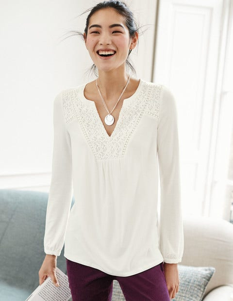 Velma Lace Detail Top J0092 Long Sleeved Tops At Boden