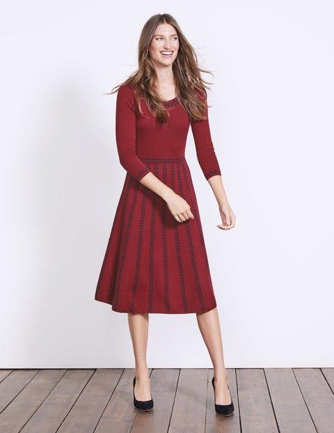 Brooke Floral Dress - Wine/Navy Placement Jacquard