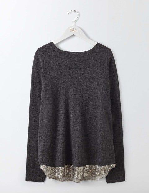 Lila Sequin Back Sweater Charcoal Melange/Silver Sequin Women Boden