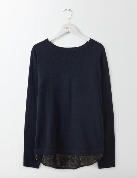 Lila Sequin Back Sweater Navy/Black Sequin Women Boden
