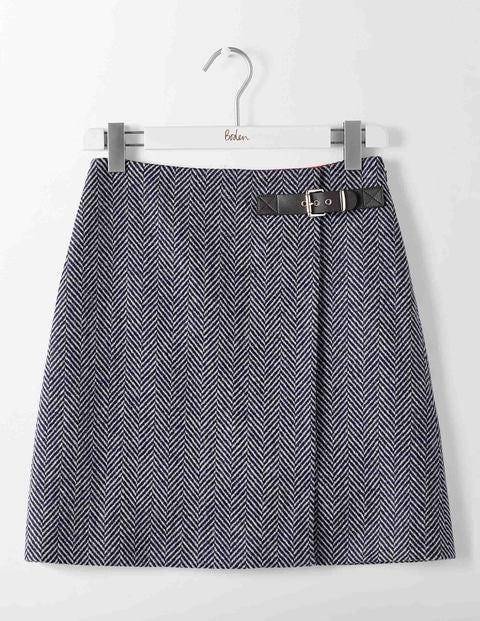 Faye Tweed Skirt Navy and Ivory Big Herringbone Women Boden