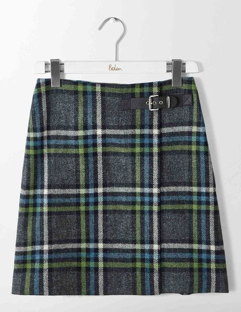 Faye Tweed Skirt Green and Ocean Ripple Check Women Boden