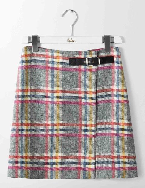 Faye Tweed Skirt Multi Check Women Boden