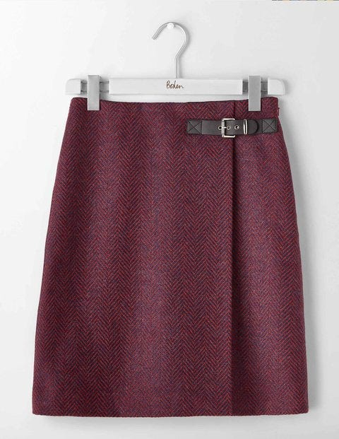 Faye Tweed Skirt Navy and Red Big Herringbone Women Boden