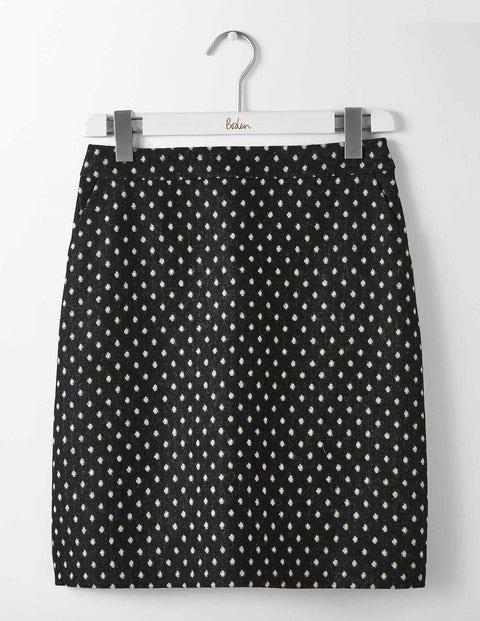 British Tweed Mini Skirt Black and Ivory Spot Women Boden