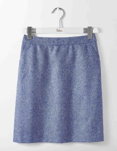 British Tweed Mini Skirt Blue and Ivory Herringbone Women Boden