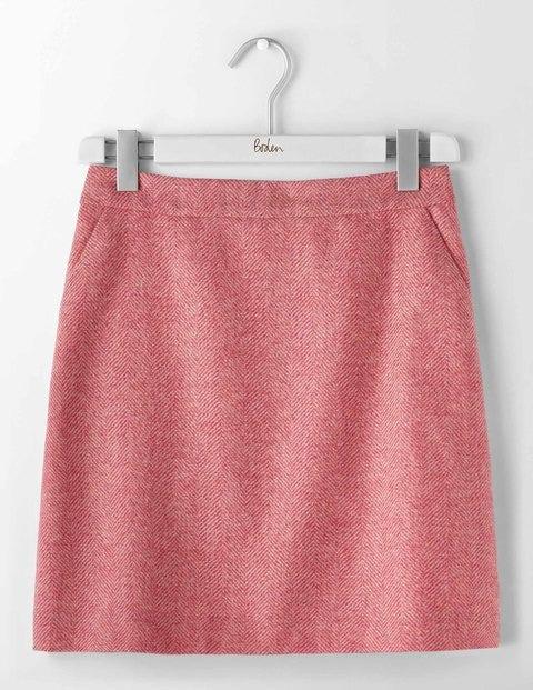 British Tweed Mini Skirt Pink Herringbone Women Boden
