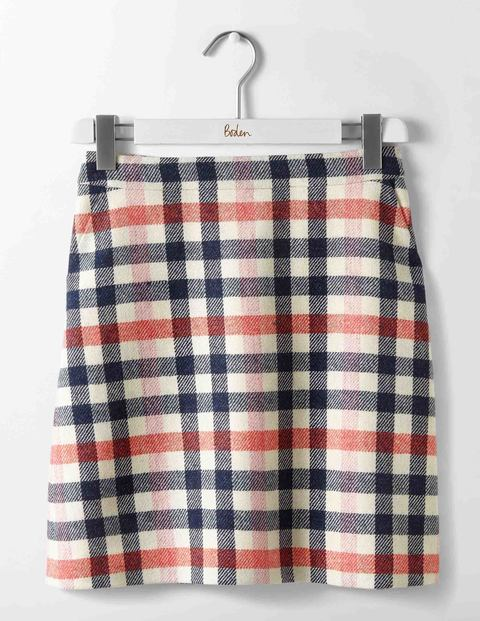 British Tweed Mini Skirt Pink and Melon Crush Check Women Boden