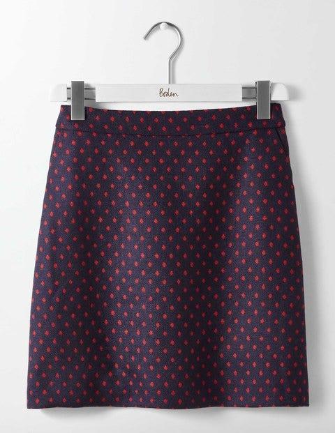 British Tweed Mini Skirt Navy with Post Box Red Spot Women Boden