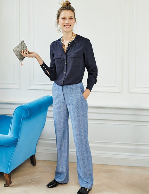 British Tweed Wide Leg Pants - Blue and Ivory Herringbone