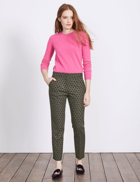 Mirabelle 7/8 Trousers - Fell Green With Navy Spot
