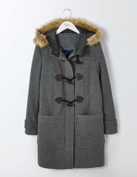 Wool Duffle Coat Mid Grey Women Boden