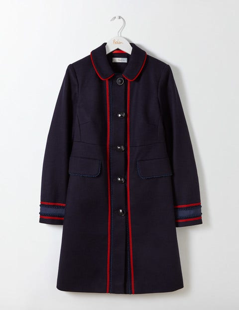 1920s Style Coats Edith Trim Detail Coat Navy Women Boden Navy £230.00 AT vintagedancer.com