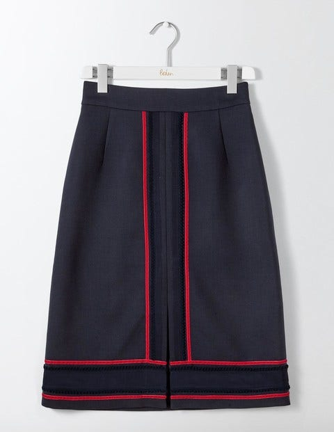 Retro Skirts: Vintage, Pencil, Circle, & Plus Sizes Edith Trim Detail Skirt Navy Women Boden Navy £120.00 AT vintagedancer.com