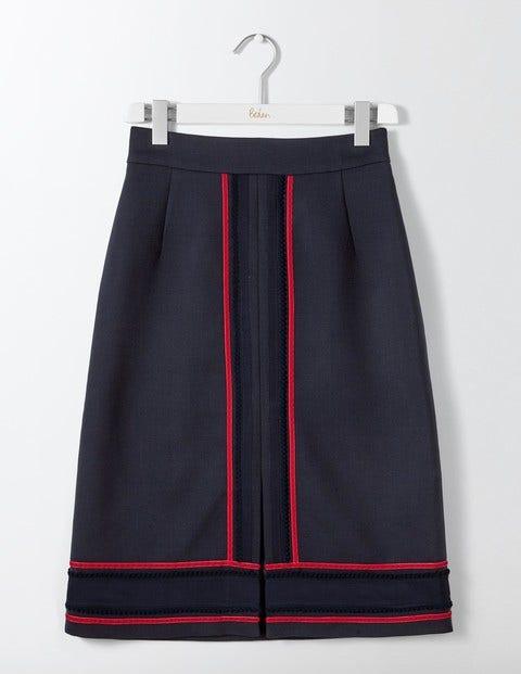 Edith Trim Detail Skirt Navy Women Boden