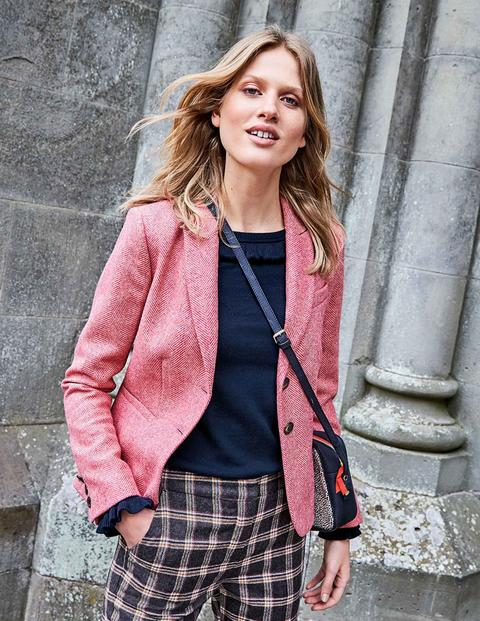 Elizabeth British Tweed Blazer - Pink Herringbone
