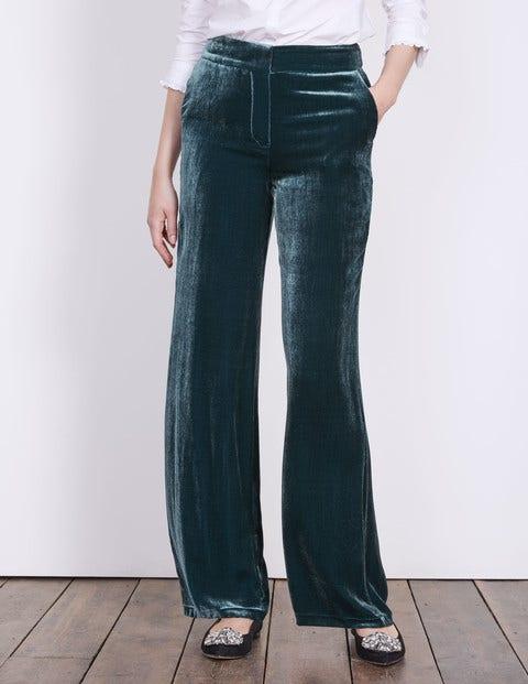 1960 – 1970s Pants, Flares, Bell Bottoms for Women Velvet Wide Leg Trousers Ink Pot Women Boden Blue £110.00 AT vintagedancer.com