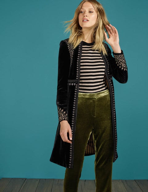 1960s Fashion: What Did Women Wear? Esme Velvet Coat Black Women Boden Black £350.00 AT vintagedancer.com