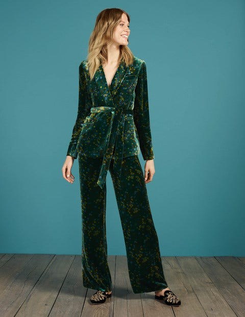 Vintage High Waisted Trousers, Sailor Pants, Jeans Roberta Velvet Trousers Deep Forest Acacia Women Boden Green £140.00 AT vintagedancer.com