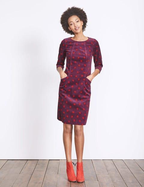 Christina Cord Dress Black Forest Oak Leaf Women Boden