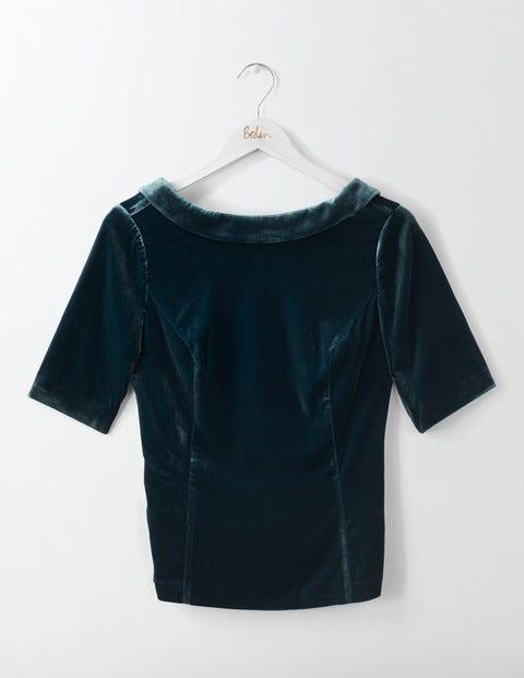 Vintage & Retro Shirts, Halter Tops, Blouses Velvet Martha Top Ink Pot Women Boden Blue £98.00 AT vintagedancer.com