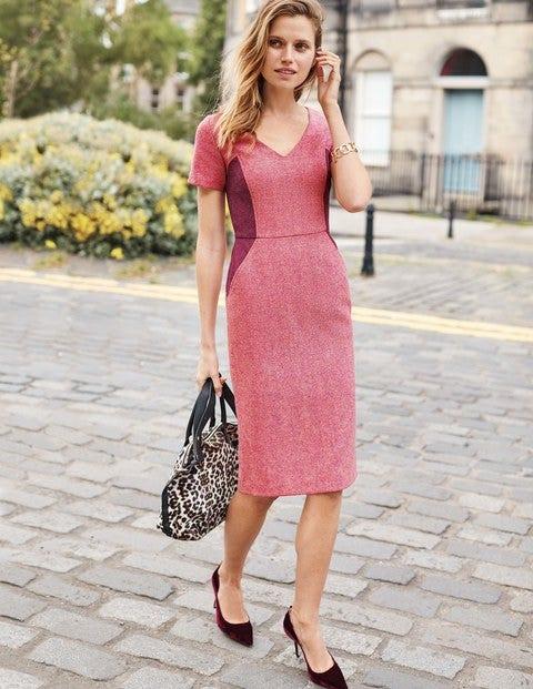 Olivia Wool Dress - Party Pink Herringbone