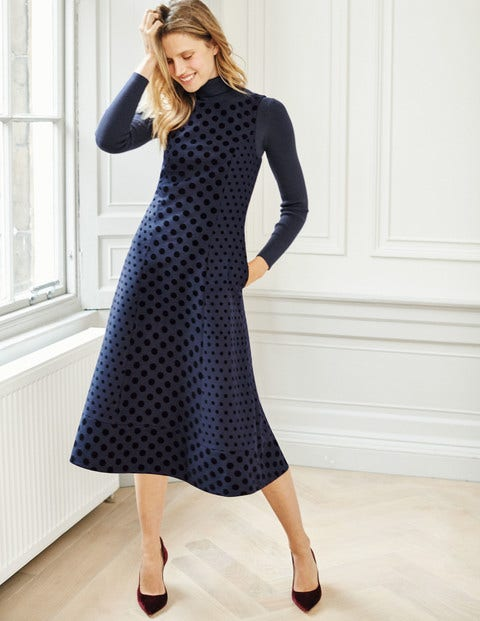 Caitlin Dress - Navy Flock Spot
