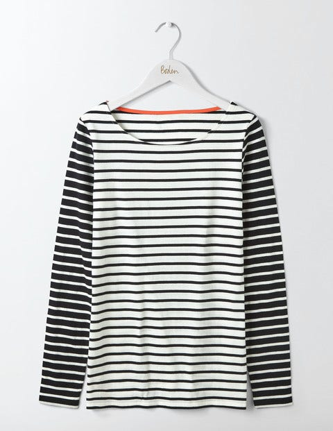 Long Sleeve Breton - Ivory/Black Hotchpotch
