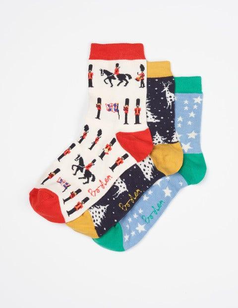 Three Pack Ankle Socks Christmas Print Women Boden