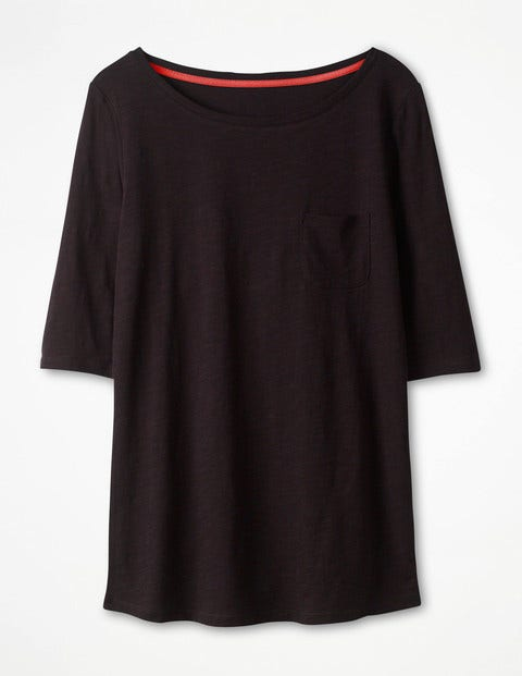 The Cotton Boat Neck Tee - Black