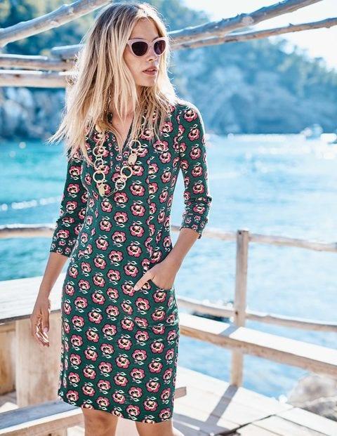 Stephanie Jersey Dress - Midnight Garden Woodblock